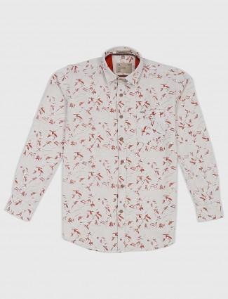 EQIQ cream printed cotton fabric shirt