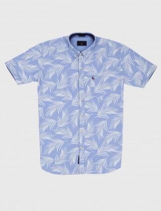 EQIQ light blue leaf printed shirt
