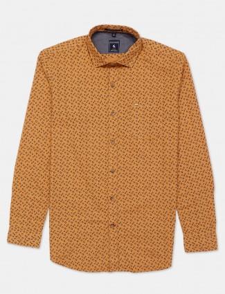 Eqiq mustard yellow printed cotton shirt