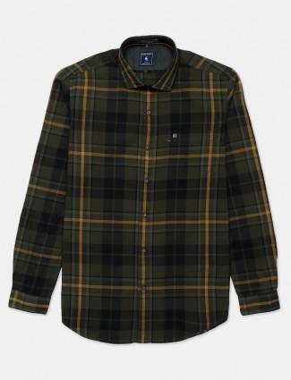Eqiq olive cotton checks shirt