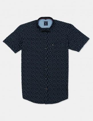 Eqiq printed navy casual shirt
