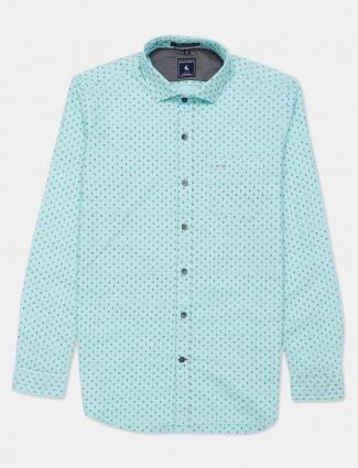 Eqiq sea green printed shirt for mens