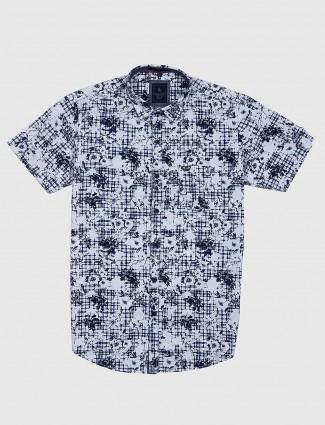 EQIQ slim collar navy and white printed shirt