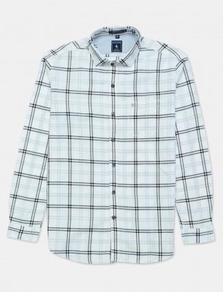 Eqiq white checks cotton shirt for mens