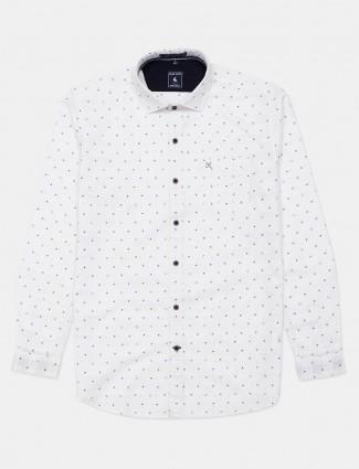 Eqiq white printed cotton mens shirt