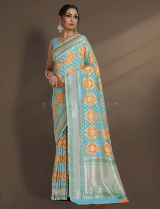 Exclusive aqua zari weaving designer saree