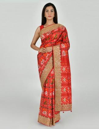 Exclusive orange parola silk wedding saree