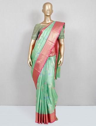 Exclusive pista green banarasi banarasi cotton silk saree for festive