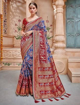 Exclusive purple hue patola semi silk saree