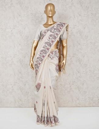 Exclusive thread weaving cotton cream saree