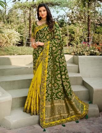 Exclusive yellow and olive half n half wedding wear sari