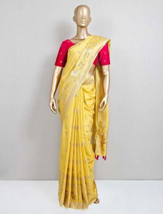 Exclusive yellow dola silk saree for wedding