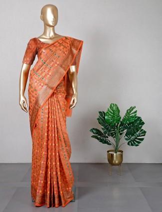Festival wear orange banarasi silk saree