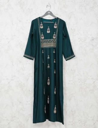 Festive bottle green tunic dress