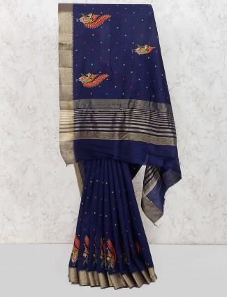 Festive function navy cotton silk saree