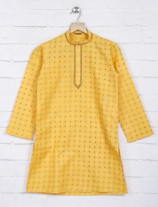 Festive function yellow hue printed kurta suit