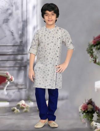 Festive occasion beige kurta suit with churidar