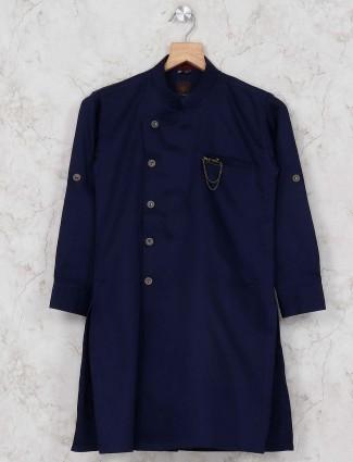 Festive occasion navy hue solid kurta suit