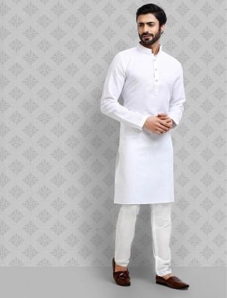 Festive occasion white hue cotton kurta suit