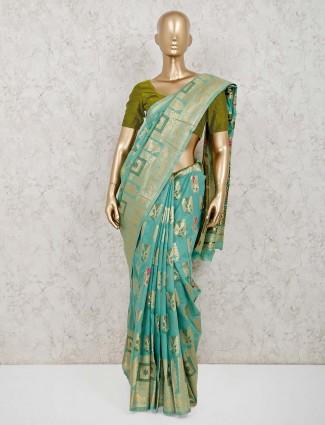 Festive wear aqua handloom cotton silk saree