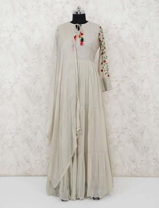 Festive wear beige anarkali dress in georgette