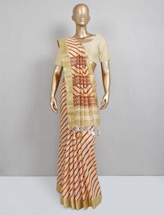 Festive wear beige cotton silk sari