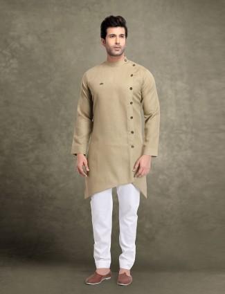 节日穿着米色棉固体kurta西装