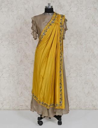 Festive wear beige georgette dress