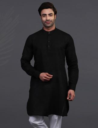 Festive wear black chinese collar mens kurta