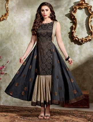 Festive wear black cotton silk anarkali kurti