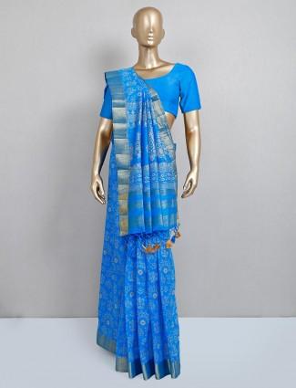 Festive wear blue cotton silk saree for women