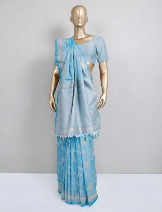Festive wear blue semi silk festive wear saree