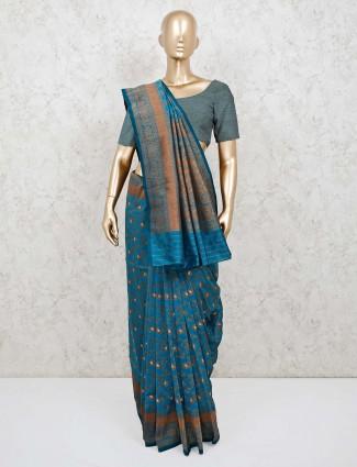Festive wear blue semi silk saree
