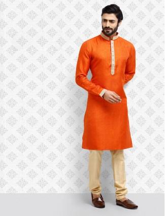Festive wear bright orange cotton kurta suit