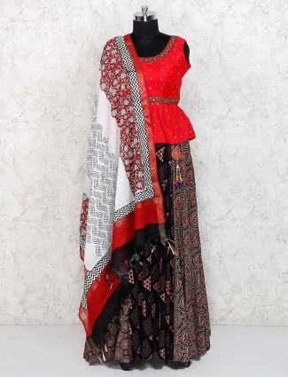Festive wear brown and red cotton lehenga choli