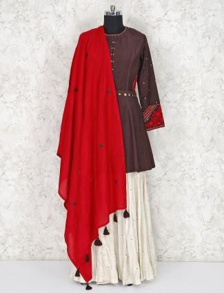 Festive wear brown punjabi sharara suit