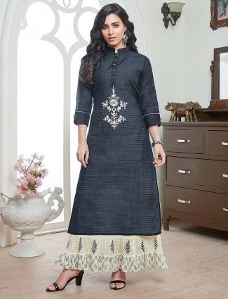 Festive wear cotton kurti in grey color