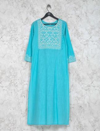 Festive wear cotton kurti set in blue color