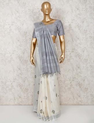 Festive wear linen cotton reception saree