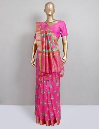 Festive wear cotton silk pink saree