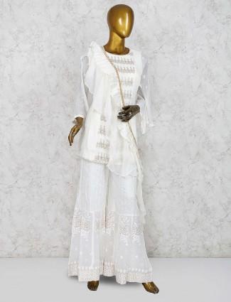 Festive wear cotton silk punjabi palazzo suit in white