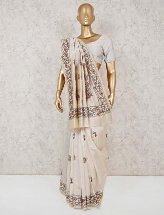 festive wear cream cotton saree