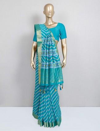 Festive wear green saree in cotton silk