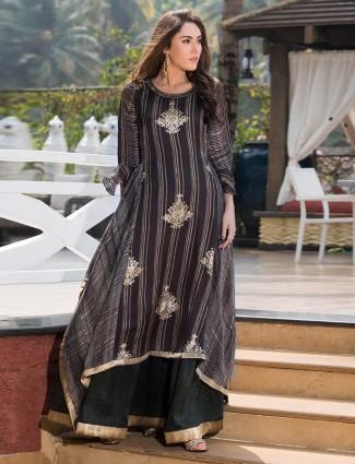 Festive wear grey color cotton kurti