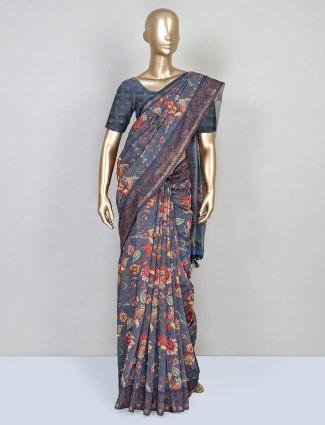 festive wear grey cotton saree