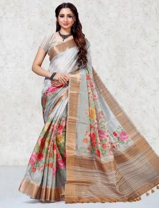 Festive wear light grey mulberry silk saree