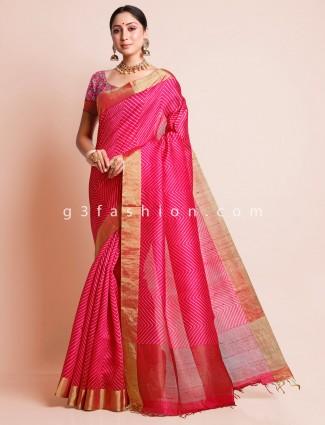 Festive wear magenta south silk saree