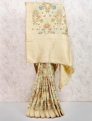 Festive wear muga silk saree in pista green color