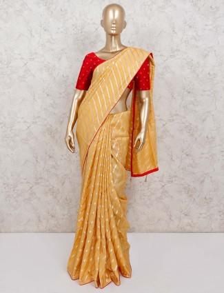 Festive wear mustard leheriya style cotton silk saree