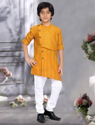 Festive wear mustard yellow hue cotton kurta suit